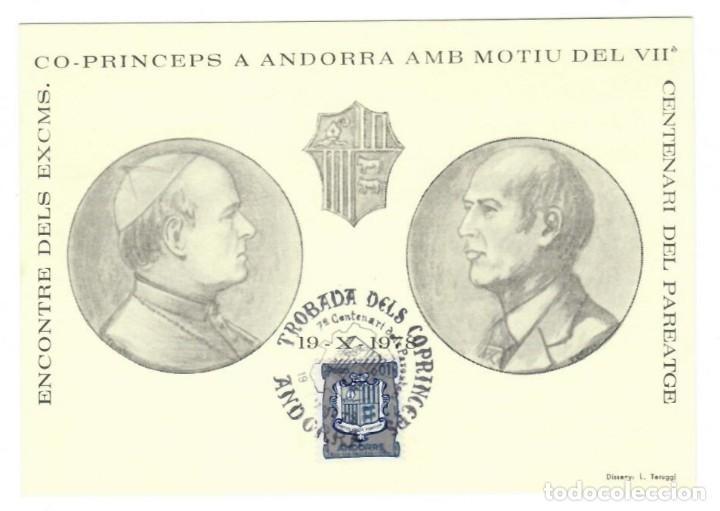 PAREATGE ANDORRA 1978: ENCUENTRO DE LOS EXCMOS. CO-PRÍNCIPES EN ANDORRA CON MOTIVO DEL 7º CENTENARIO (Sellos - Extranjero - Tarjetas)