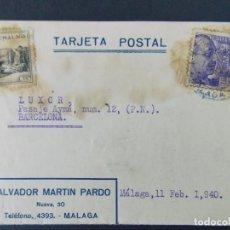Sellos: TARJETA POSTAL COMERCIAL , SALVADOR MARTIN PRADO , MALAGA , CIRCULADA EN 1940 ..A675. Lote 143414362