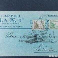 Sellos: TARJETA COMERCIAL , J. MEDINA , LA X 4 , SANLUCAR DE BARRAMEDA , CIRCULADA 1939 ..A679. Lote 143415798