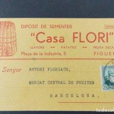 Sellos: TARJETA COMERCIAL , DIPOSIT SEMENTER , LLAVORS , CASA FLORI , FIGUERES , CIRCULADA 1934 .A680. Lote 143417950