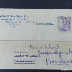 Sellos: TARJETA COMERCIAL , NATALIO SANCHON , ALMACEN DE DROGAS , VIGO , CIRCULADA 1940 ..A683. Lote 143509550