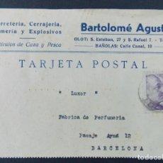 Sellos: TARJETA COMERCIAL , FERRETERIA ARMERIA , BARTOLOME AGUSTI , OLOT , BANYOLES , CIRCULADA 1943 ..A684. Lote 143510522