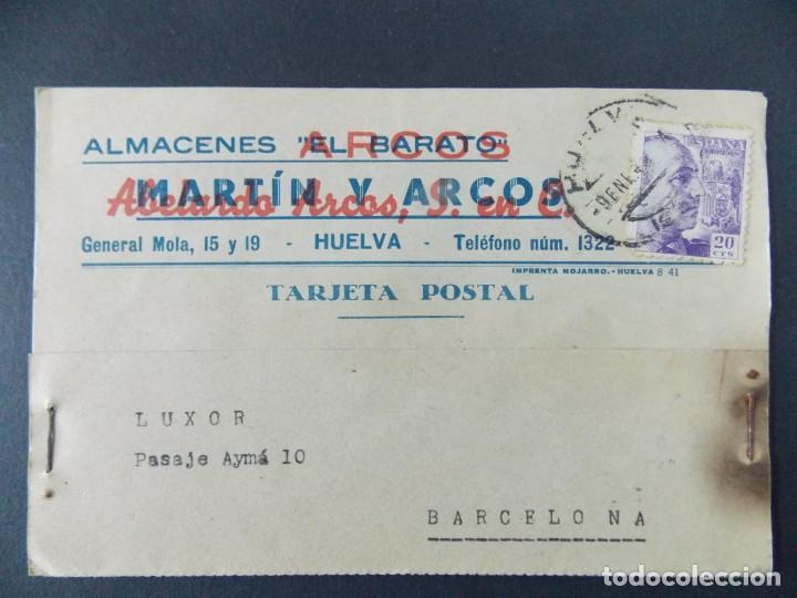 TARJETA COMERCIAL , ALMACENES ARCOS , EL BARATO , HUELVA , CIRCULADA 1943 ..A686 (Sellos - España - Tarjetas)