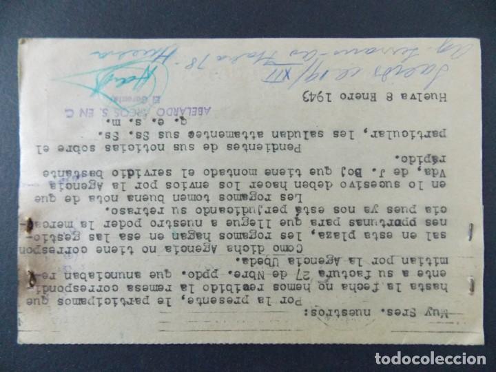 Sellos: TARJETA COMERCIAL , ALMACENES ARCOS , EL BARATO , HUELVA , CIRCULADA 1943 ..A686 - Foto 2 - 143511990