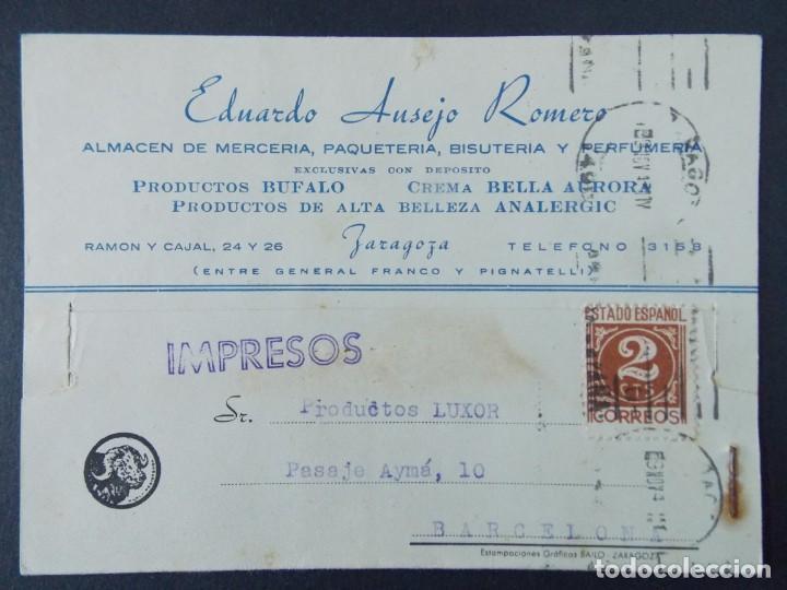 TARJETA COMERCIAL ,ALMACEN MERCERIA , EDUARDO AUSEJO ROMERO , ZARAGOZA , CIRCULADA 1943 .A694 (Sellos - España - Tarjetas)