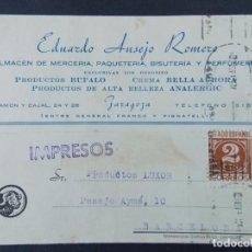 Sellos: TARJETA COMERCIAL ,ALMACEN MERCERIA , EDUARDO AUSEJO ROMERO , ZARAGOZA , CIRCULADA 1943 .A694. Lote 143517838