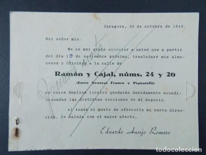 Sellos: TARJETA COMERCIAL ,ALMACEN MERCERIA , EDUARDO AUSEJO ROMERO , ZARAGOZA , CIRCULADA 1943 .A694 - Foto 2 - 143517838