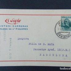 Sellos: TARJETA COMERCIAL , ALMACENES EL SIGLO , ANTONI CARRERAS , FIGUERES , CIRCULADA 1936 .A697. Lote 143519706