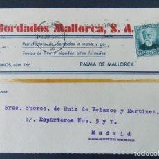 Sellos: TARJETA COMERCIAL, BORDADOS MALLORCA S.A, PALMA DE MALLORCA , CIRCULADA 1933 ..A699. Lote 143582514