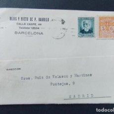 Sellos: TARJETA COMERCIAL, HIJOS Y NIETOS DE P. BAURIER , BARCELONA CIRCULADA 1933 ..A700. Lote 143583270