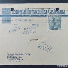 Sellos: TARJETA COMERCIAL, COMERCIAL FARMACEUTICA CASTELLANA, EMILIANO RIDRUEJO, BURGOS CIRCULADA 1955 .A702. Lote 143583594