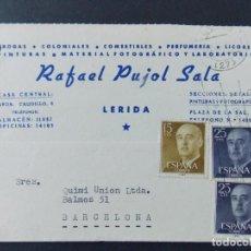 Sellos: TARJETA COMERCIAL, COLONIALES, LABORATORIO RAFAEL PUJOL SALA, LERIDA, LLEIDA CIRCULADA 1964 ..A705. Lote 143584650