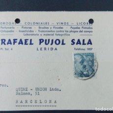 Sellos: TARJETA COMERCIAL, COLONIALES, LABORATORIO RAFAEL PUJOL SALA, LERIDA, LLEIDA CIRCULADA 1954 ..A707. Lote 143584958