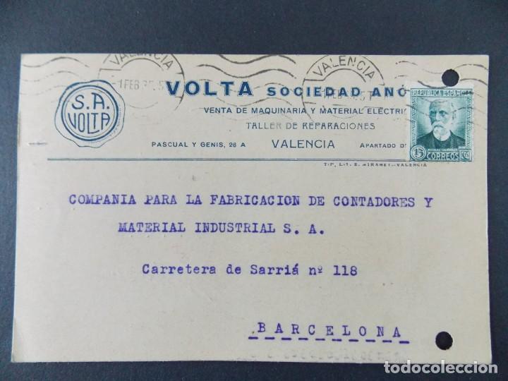 TARJETA COMERCIAL, VOLTA S. A. MAQUINARIA Y MATERIAL ELECTRICO, VALENCIA, CIRCULADA 1935 ..A713 (Sellos - España - Tarjetas)