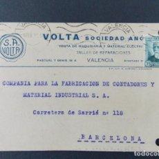 Sellos: TARJETA COMERCIAL, VOLTA S. A. MAQUINARIA Y MATERIAL ELECTRICO, VALENCIA, CIRCULADA 1935 ..A713. Lote 143587970