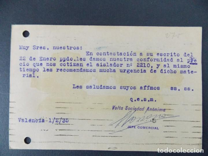 Sellos: TARJETA COMERCIAL, VOLTA S. A. MAQUINARIA Y MATERIAL ELECTRICO, VALENCIA, CIRCULADA 1935 ..A713 - Foto 2 - 143587970