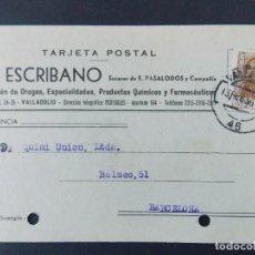 Sellos: TARJETA COMERCIAL, A. ESCRIBANO, PROCUCTOS QUIMICOS Y FARMACEUTICOS, VALLADOLID, 1956 ..A716. Lote 143591214