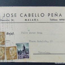 Sellos: TARJETA COMERCIAL, TEJIDOS, JOSE CABELLO PEÑA, MALAGA , CIRCULADA 1962 ..A718. Lote 143706702