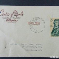 Sellos: TARJETA COMERCIAL, ALMACEN DE TEJIDOS CORTES Y MERLO, VALDEPEÑAS, CIRCULADA 1962 ..A722. Lote 143709830