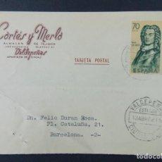 Sellos: TARJETA COMERCIAL, ALMACEN DE TEJIDOS CORTES Y MERLO, VALDEPEÑAS, CIRCULADA 1962 ..A723. Lote 143709874