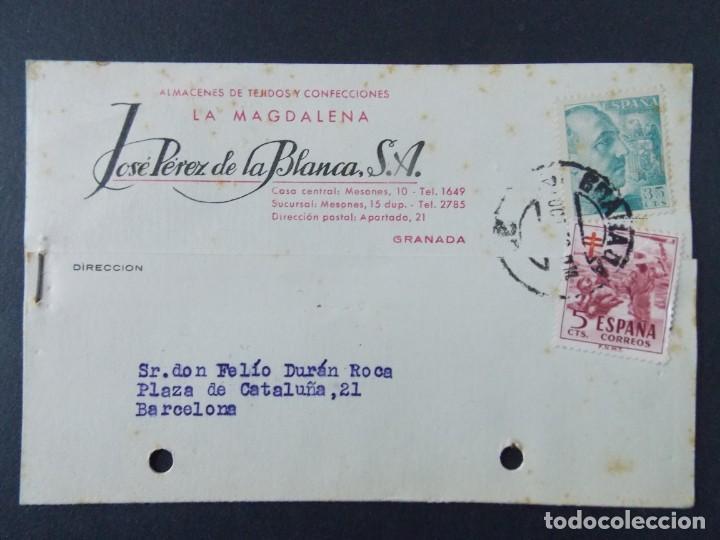 TARJETA COMERCIAL, ALMACENES TEJIDOS LA MAGDALENA, JOSE PEREZ DE LA BLANCA S. A, GRANADA 1952 ..A724 (Sellos - España - Tarjetas)
