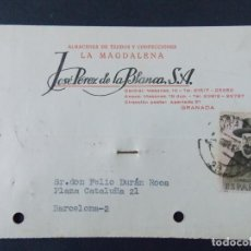 Sellos: TARJETA COMERCIAL, ALMACENES TEJIDOS LA MAGDALENA, JOSE PEREZ DE LA BLANCA S. A, GRANADA 1966 ..A725. Lote 143710302