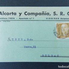 Sellos: TARJETA COMERCIAL, ALCORTA Y COMPAÑIA S R C, ELGOIBAR ( GUIPUZCOA ) CIRCULADA 1956 ..A728. Lote 143789302