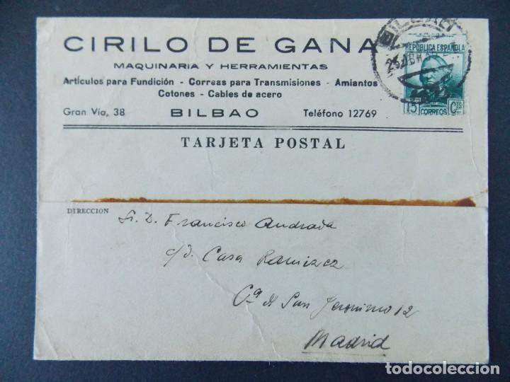 TARJETA COMERCIAL, MAQUINARIA Y HERRAMIENTAS, CIRILO DE GANA, BILBAO, CIRCULADA 1935 ..A730 (Sellos - España - Tarjetas)