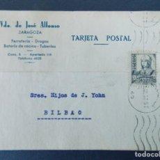 Sellos: TARJETA COMERCIAL, FERRETERIA, VIUDA DE JOSE ALFONSO, ZARAGOZA, CIRCULADA, 1937 ..A735. Lote 143793558
