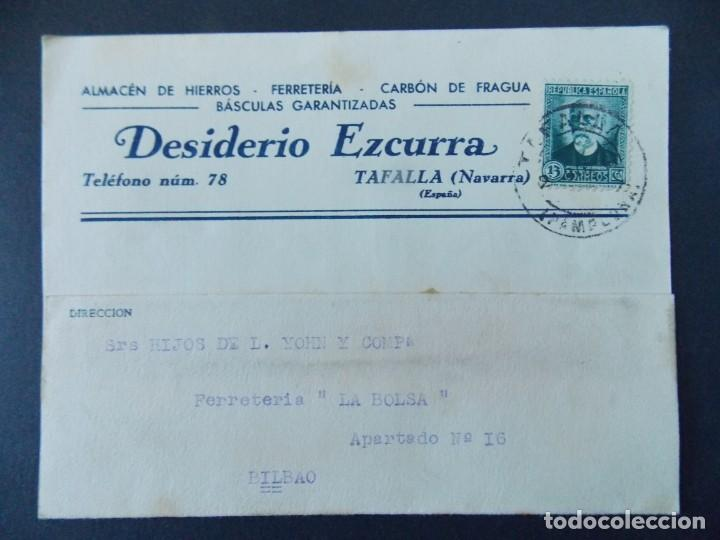 TARJETA COMERCIAL, FERRETERIA, DESIDERIO EZCURRA, TAFALLA ( NAVARRA ) CIRCULADA, 1934 ..A736 (Sellos - España - Tarjetas)