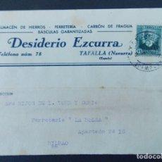 Sellos: TARJETA COMERCIAL, FERRETERIA, DESIDERIO EZCURRA, TAFALLA ( NAVARRA ) CIRCULADA, 1934 ..A736. Lote 143794386