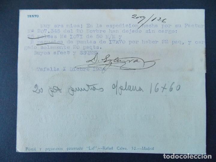 Sellos: TARJETA COMERCIAL, FERRETERIA, DESIDERIO EZCURRA, TAFALLA ( NAVARRA ) CIRCULADA, 1934 ..A736 - Foto 2 - 143794386