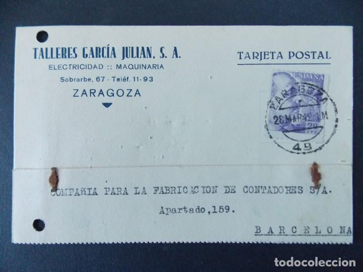TARJETA COMERCIAL, TALLERES GARCIA JULIAN S.A., ZARAGOZA, CIRCULADA 1942 ..A742 (Sellos - España - Tarjetas)