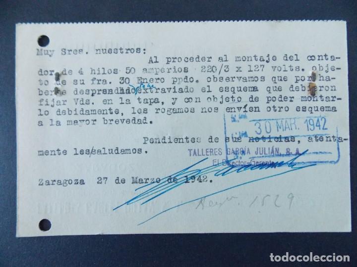 Sellos: TARJETA COMERCIAL, TALLERES GARCIA JULIAN S.A., ZARAGOZA, CIRCULADA 1942 ..A742 - Foto 2 - 144097062