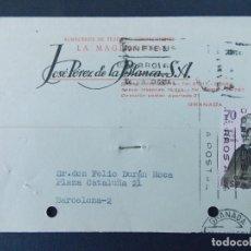 Sellos: TARJETA COMERCIAL, ALMACENES TEJIDO LA MAGDALENA, JOSE PEREZ DE LA BLANCA, GRANADA, 1966 ..A743. Lote 144097366
