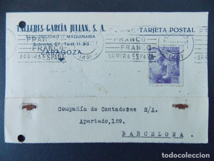 TARJETA COMERCIAL, TALLERES GARCIA JULIAN S.A. - ZARAGOZA, CIRCULADA 1942 ..A749 (Sellos - España - Tarjetas)