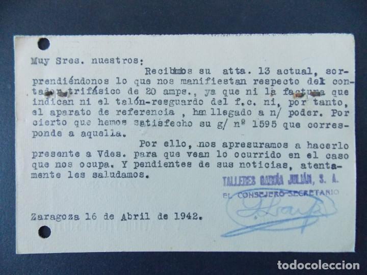 Sellos: TARJETA COMERCIAL, TALLERES GARCIA JULIAN S.A. - ZARAGOZA, CIRCULADA 1942 ..A749 - Foto 2 - 144100554