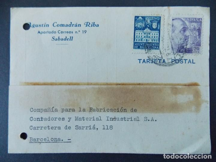 TARJETA COMERCIAL, AGUSTIN COMADRAN RIBA - SABADELL, CIRCULADA 1942 ..A750 (Sellos - España - Tarjetas)