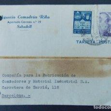 Sellos: TARJETA COMERCIAL, AGUSTIN COMADRAN RIBA - SABADELL, CIRCULADA 1942 ..A750. Lote 144100938