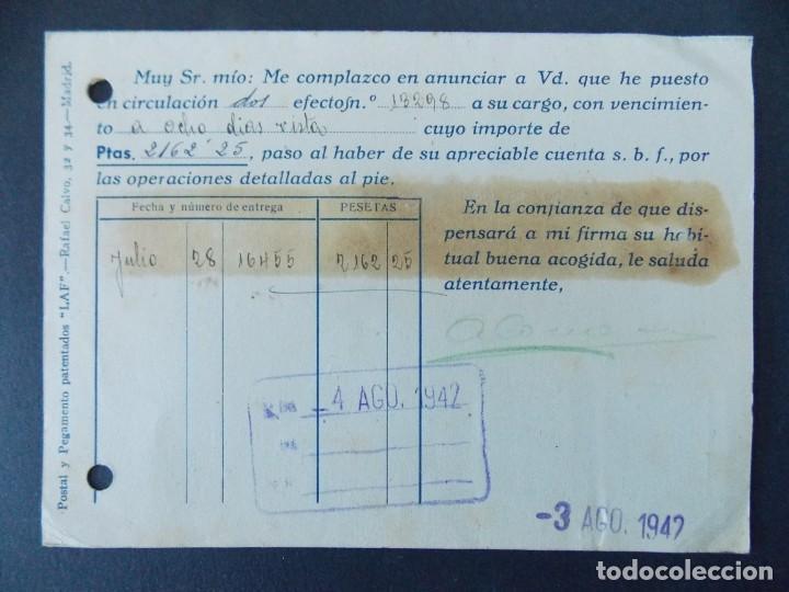 Sellos: TARJETA COMERCIAL, AGUSTIN COMADRAN RIBA - SABADELL, CIRCULADA 1942 ..A750 - Foto 2 - 144100938
