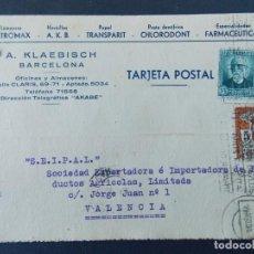 Sellos: TARJETA COMERCIAL, ESPECIALIDADES FARMACEUTICAS, A . KLAEBISCH - BARCELONA, CIRCULADA 1934 ...A755. Lote 144185694