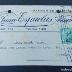 Sellos: TARJETA COMERCIAL - ALMACENES COLONIALES, JUAN ESPUELAS ARRANZ - ZARAGOZA, CIRCULADA 1941...A760. Lote 144194254