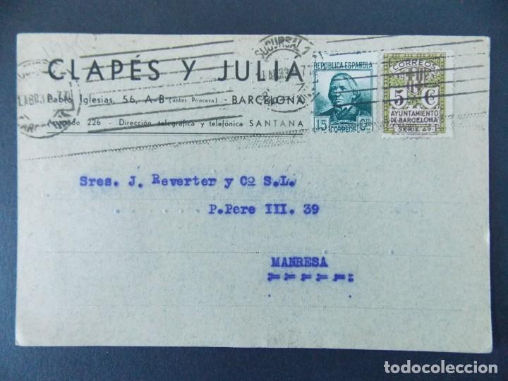 TARJETA COMERCIAL - CLAPES Y JULIA - BARCELONA, CIRCULADA 1935...A763 (Sellos - España - Tarjetas)