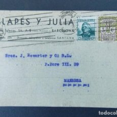 Sellos: TARJETA COMERCIAL - CLAPES Y JULIA - BARCELONA, CIRCULADA 1935...A763. Lote 144198482