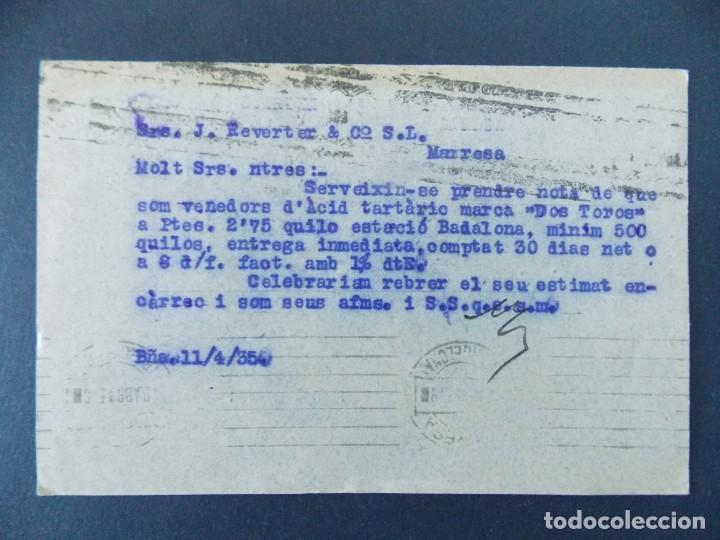 Sellos: TARJETA COMERCIAL - CLAPES Y JULIA - BARCELONA, CIRCULADA 1935...A763 - Foto 2 - 144198482