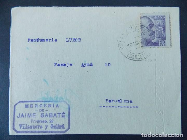 TARJETA COMERCIAL, MERCERIA DE JAIME SABATE - VILANOVA I LA GELTRU ( BARCELONA ) - 1943 ..A773 (Sellos - España - Tarjetas)