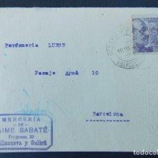 Sellos: TARJETA COMERCIAL, MERCERIA DE JAIME SABATE - VILANOVA I LA GELTRU ( BARCELONA ) - 1943 ..A773. Lote 144211034