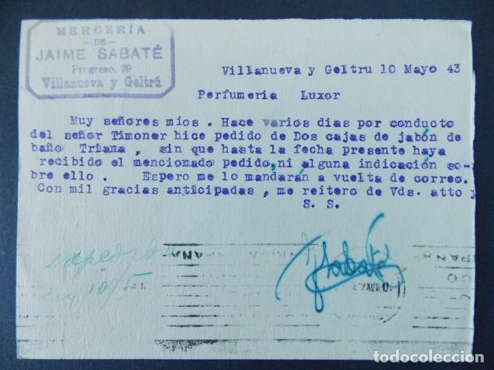 Sellos: TARJETA COMERCIAL, MERCERIA DE JAIME SABATE - VILANOVA I LA GELTRU ( BARCELONA ) - 1943 ..A773 - Foto 2 - 144211034