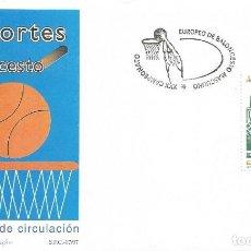 Sellos: SOBRE PRIMER DIA DEL CAMPAONATO DEL MUNDO DE BALONCESTO ESPAÑA 1997 . Lote 146255066