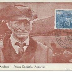 Sellos: ANDORRA.MAXIMUM CARD SELLO YT 115. CONSEJERO ANDORRANO/ANDORRAN COUNCILLOR. MATASELLOS 1956. TRIPLE.. Lote 146609690